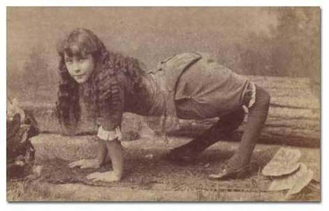 """1.) Ella Harper, also known as """"The Camel Girl."""" She got the name because she preferred to walk on all fours."""